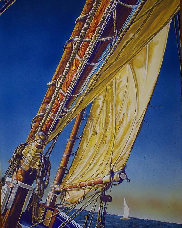 Sail Boat Poster featuring the painting Key West Straight Ahead by Gill Sanchez