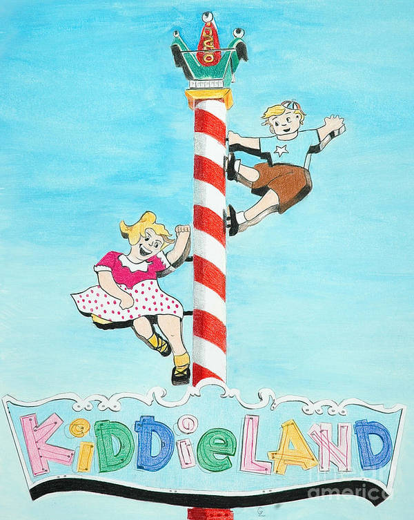 Vintage Poster featuring the drawing Kiddie Land by Glenda Zuckerman
