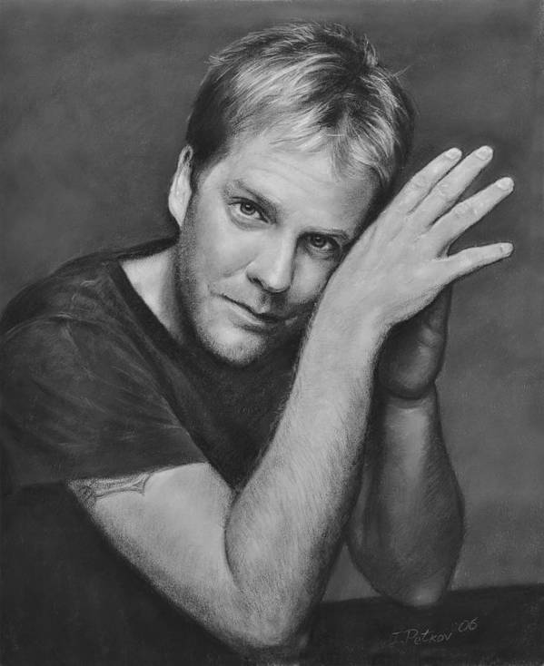 Portraits Poster featuring the drawing Kiefer Sutherland by Iliyan Bozhanov