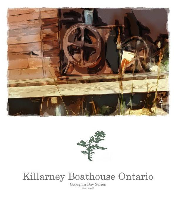 Impressionism Poster featuring the painting Killarney Ontario Boathouse Poster Series by Bob Salo