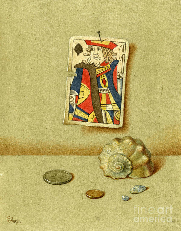 Plying Cards Poster featuring the painting King And Seashell by Victor Sap
