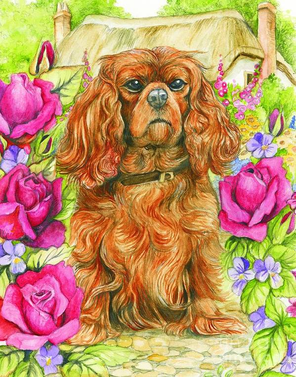 King Poster featuring the painting King Charles Spaniel by Morgan Fitzsimons
