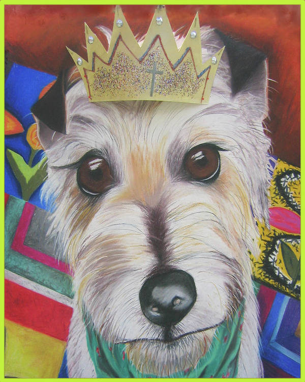 Dog Poster featuring the pastel King Louie by Michelle Hayden-Marsan