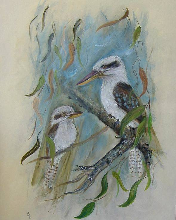 Birds Poster featuring the painting King Of The Woods by Rita Palm