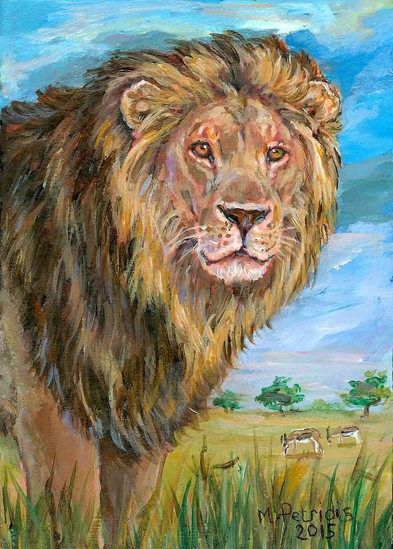 Cecil Lion Poster featuring the painting Kingdom Of The Lion by Melanie Petridis