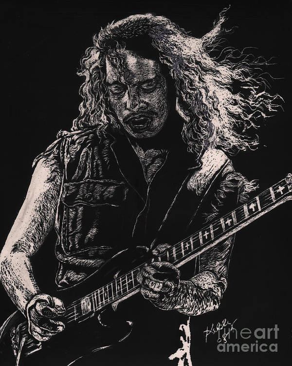 Kirk Hammett Poster Poster featuring the drawing Kirk Hammett by Kathleen Kelly Thompson