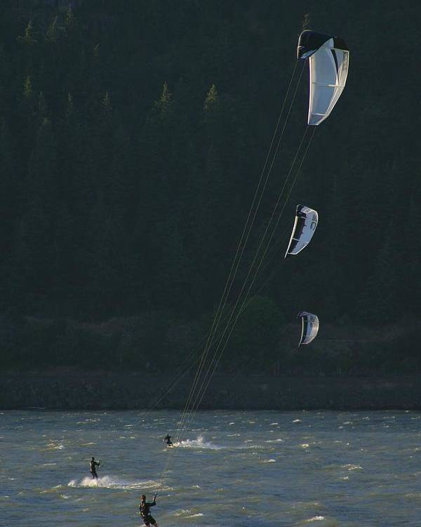 Sports Poster featuring the photograph Kiteboarding On The Columbia River by Skip Brown