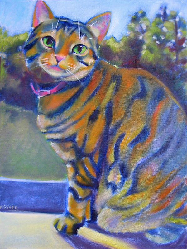 Tabby Cat Poster featuring the painting Kitty In The Window by Kaytee Esser