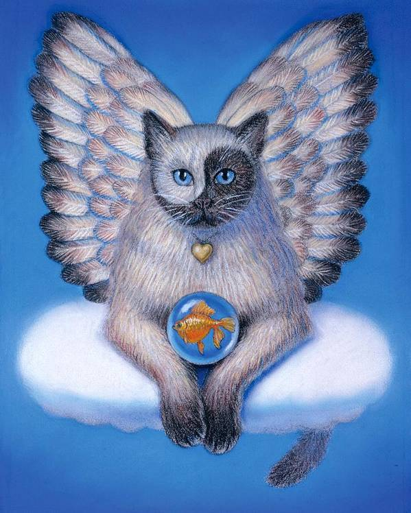 Animals Poster featuring the painting Kitty Yin Yang- Cat Angel by Sue Halstenberg