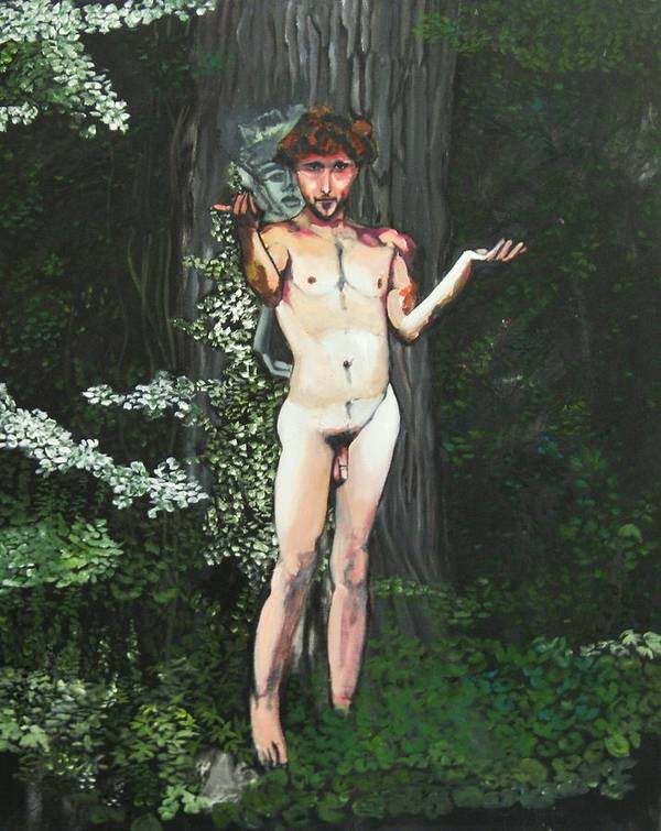 Male Nude Original Paintings Poster featuring the painting Kline Under The Maple Tree by Pacifico Palumbo
