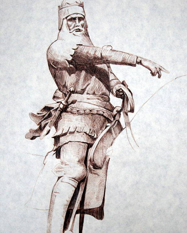 Pen And Ink Poster featuring the drawing Knight by Kerry Burch
