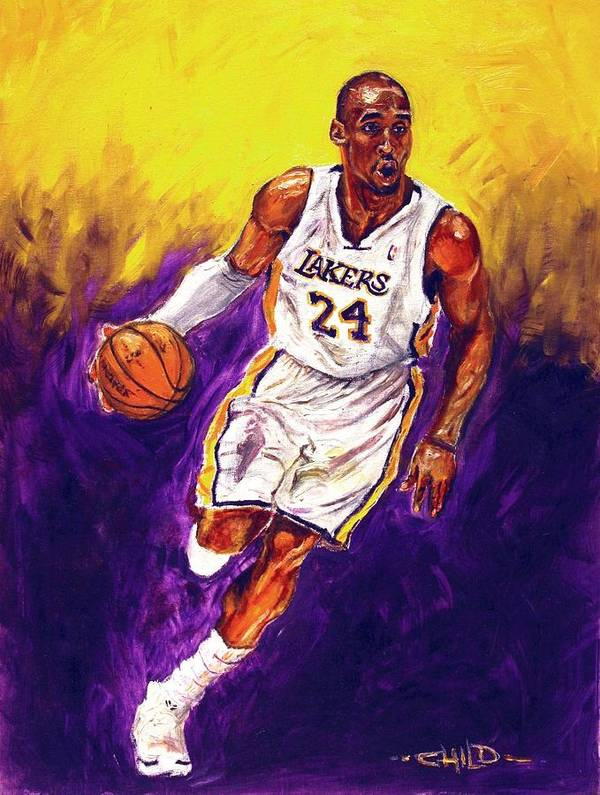 Kobe Bryant Poster featuring the painting Kobe by Brian Child
