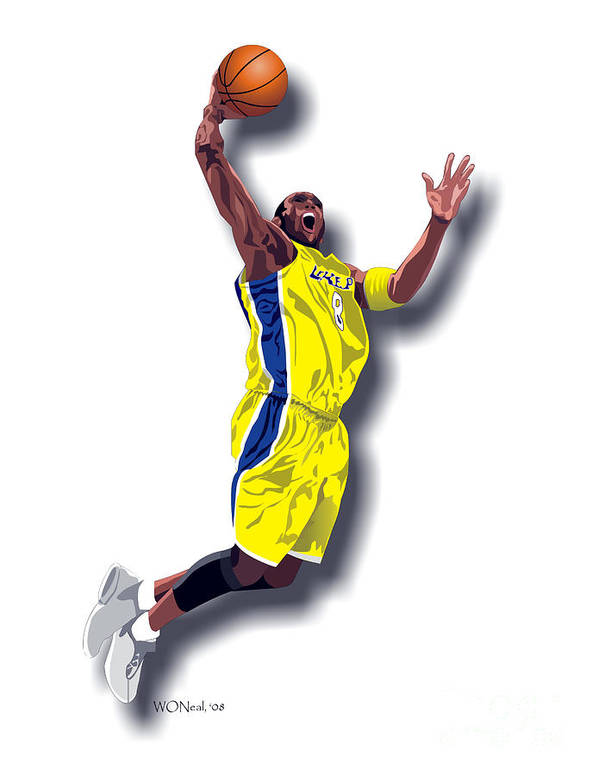 Male Portraits Poster featuring the digital art Kobe Bryant 8 by Walter Oliver Neal