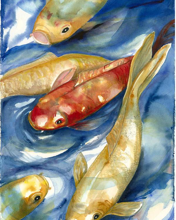Koi Fish Painting Poster featuring the painting Koi Fish II by Ileana Carreno