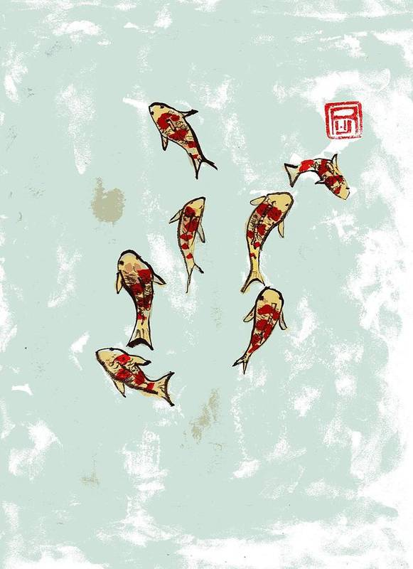 Koi Poster featuring the painting Koi School by Rick Lowe