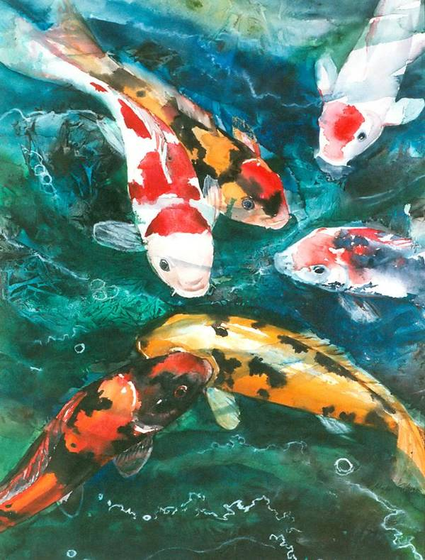 Art Poster featuring the painting Koi V by Patricia Allingham Carlson