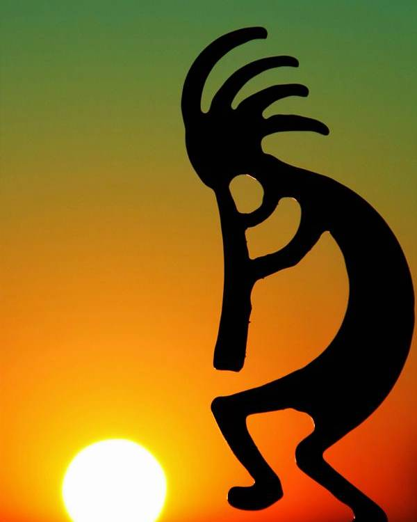 Sunrise Poster featuring the photograph Kokopelli by Mitch Cat