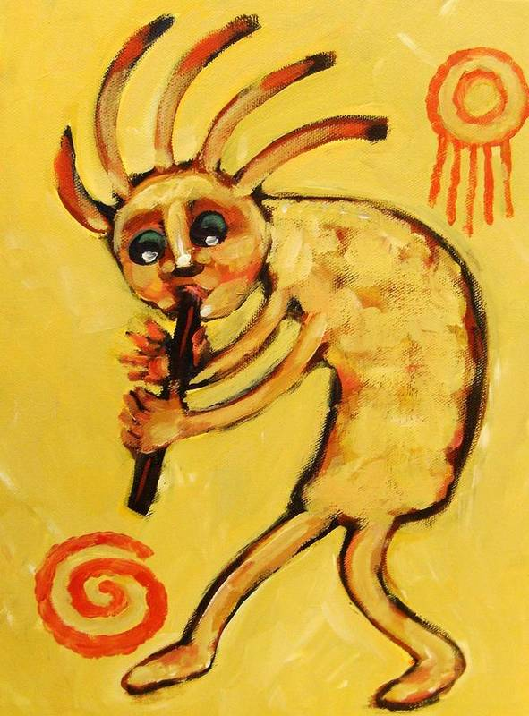 Kokopelli Poster featuring the painting Kokopelli Watches by Carol Suzanne Niebuhr