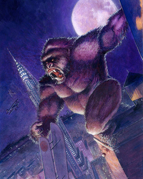 King Kong Poster featuring the painting Kong by Ken Meyer