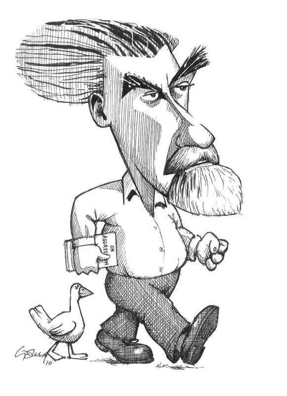 Portrait Poster featuring the photograph Konrad Lorenz, Caricature by Gary Brown