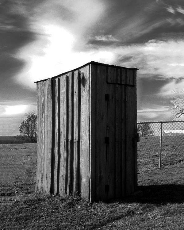 Ansel Adams Poster featuring the photograph Koyl Cemetery Outhouse by Curtis J Neeley Jr