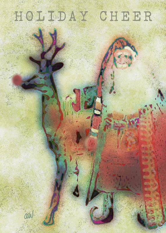 Santa Poster featuring the digital art Kris And Rudolph by Arline Wagner