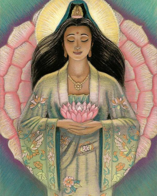 Kuan Yin Poster featuring the painting Kuan Yin Pink Lotus Heart by Sue Halstenberg