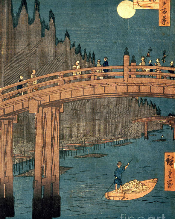 Kyoto Poster featuring the painting Kyoto Bridge By Moonlight by Hiroshige