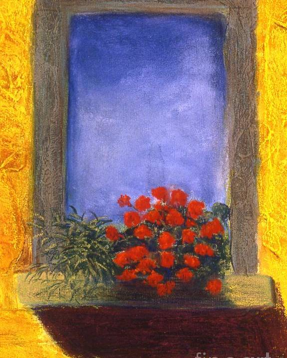 Colorful Poster featuring the painting La Finstra Con I Fiori by Mary Erbert