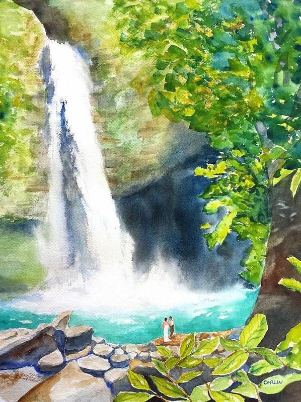 La Fortuna Poster featuring the painting La Fortuna Waterfall by Carlin Blahnik CarlinArtWatercolor