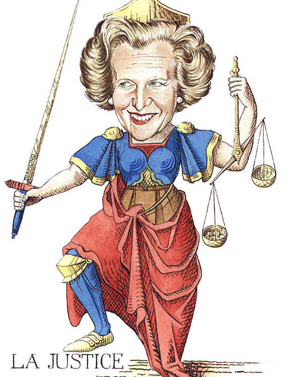Margaret Thatcher Scales Justice Tarot Caricature Sword Poster featuring the painting La Justice by Debbie Diamond