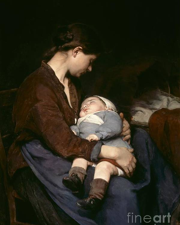 Mother And Child Poster featuring the painting La Mere by Elizabeth Nourse