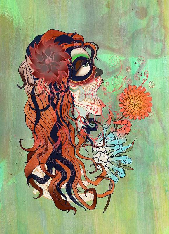La Muerte Sugar Skull Girl Beauty Splatter Poster featuring the digital art La Muerte by Kate Collins