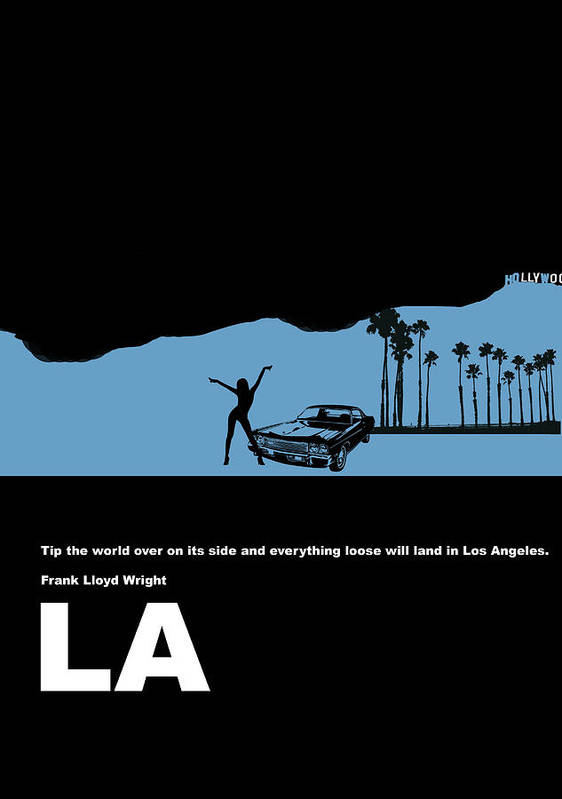 Los Angeles Poster featuring the digital art La Night Poster by Naxart Studio