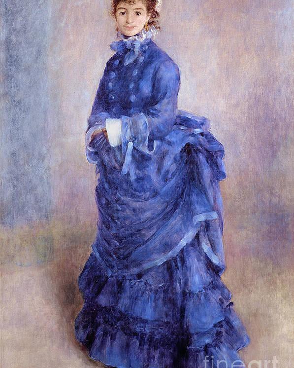 Female; Portrait; Impressionist; Full Length; Bonnet; Hat; Purple Dress; Bustle; Parisian; French; Dame; Bleu Poster featuring the painting La Parisienne The Blue Lady by Pierre Auguste Renoir