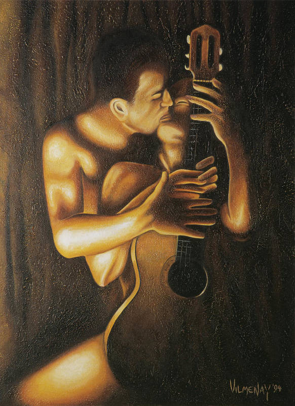 Acrylic Poster featuring the painting La Serenata by Arturo Vilmenay