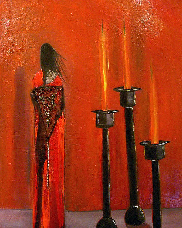 Figurative Candles Red Poster featuring the painting La Trinadad by Niki Sands
