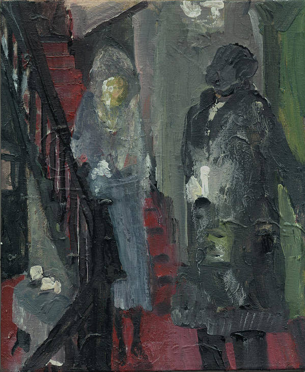 Figure Poster featuring the painting Laboheme Act 1 Stairway by Bill Collins