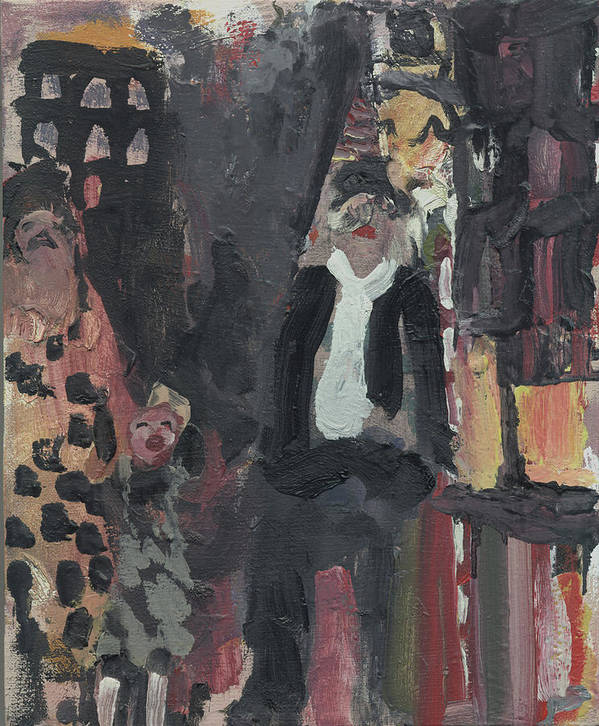 Figure Poster featuring the painting Laboheme Act 3 Steetscene by Bill Collins