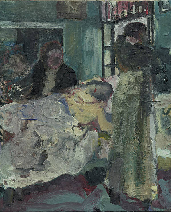 Figure Poster featuring the painting Laboheme Act 4 Mimi Dies by Bill Collins