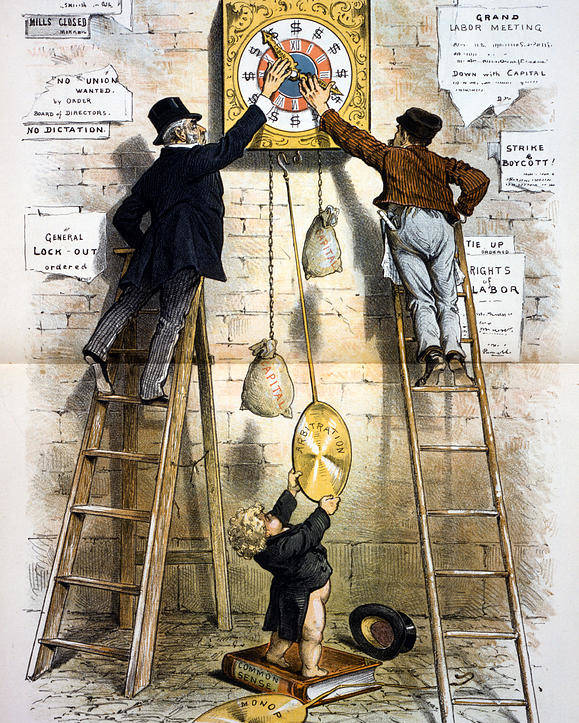 1880s Poster featuring the photograph Labor Movement. Editorial Cartoon by Everett