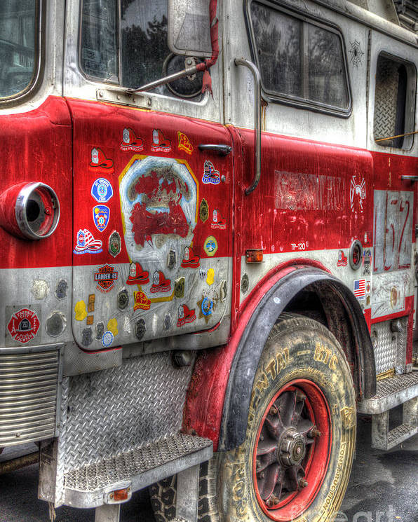 Ladder Truck 152 Poster featuring the photograph Ladder Truck 152 - In Remembrance Of 9-11 by Eddie Yerkish