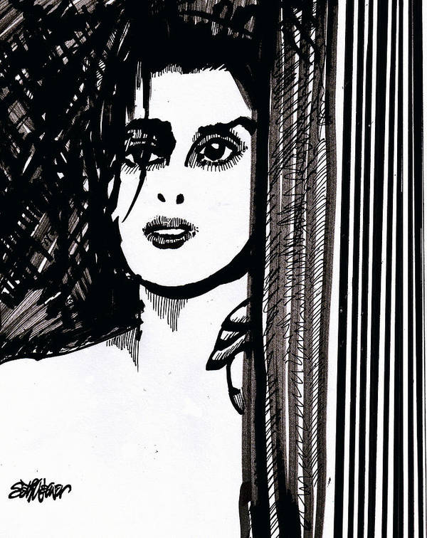 Sad Lady Poster featuring the drawing Lady At The Door by Seth Weaver