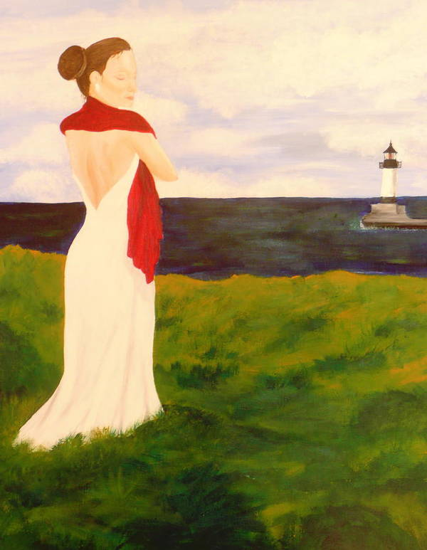 Woman Poster featuring the painting Lady At The Ocean by Jennifer Hernandez