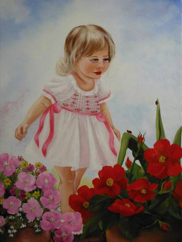 Child Poster featuring the painting Lady Bug Lady Bug by Joni McPherson