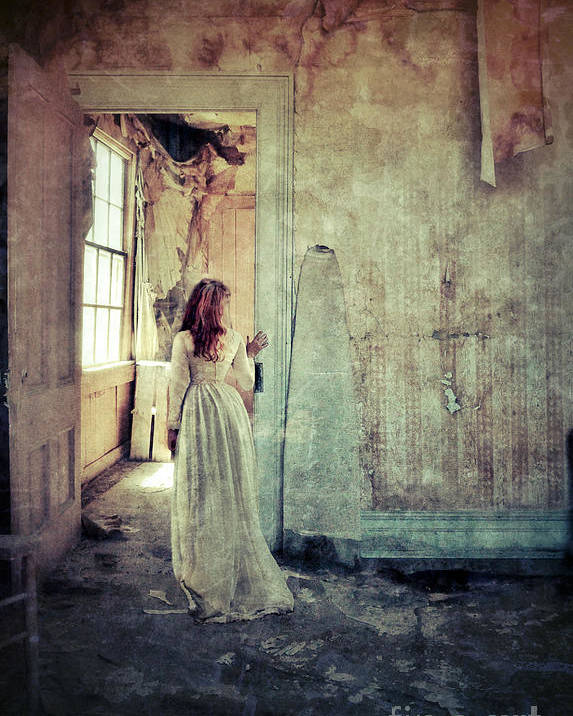 Room Poster featuring the photograph Lady In An Old Abandoned House by Jill Battaglia