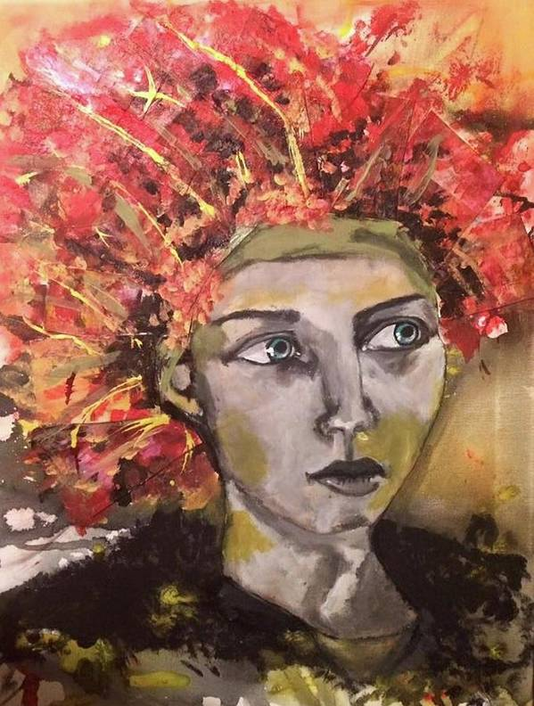 Portrait Poster featuring the mixed media Lady in Red Headdress by Milagros Suriano-Rivera