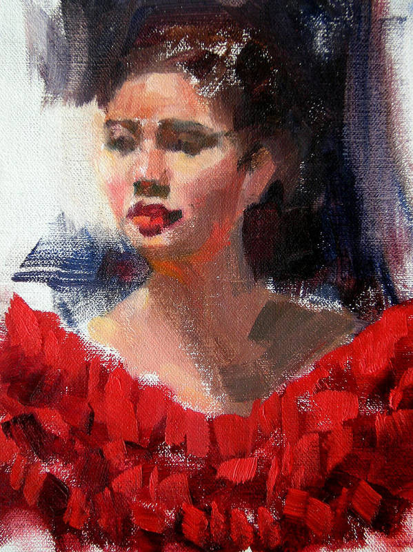 Portrait Poster featuring the painting Lady In Red by Merle Keller