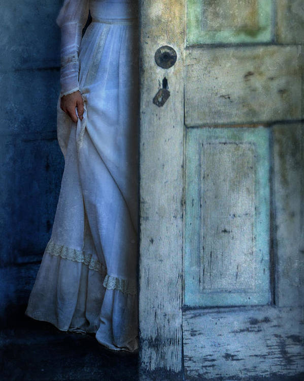 Woman Poster featuring the photograph Lady In Vintage Clothing Hiding Behind Old Door by Jill Battaglia