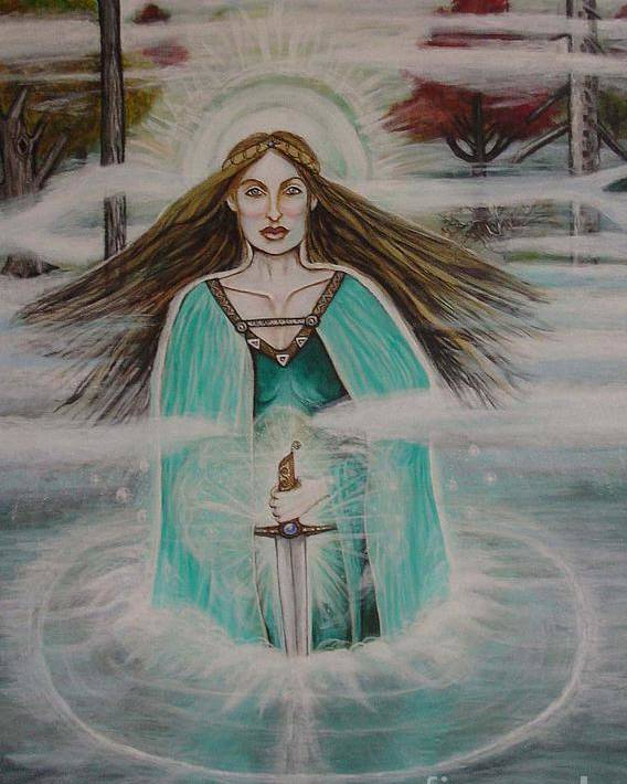 Goddess Poster featuring the painting Lady Of The Lake II by Tammy Mae Moon
